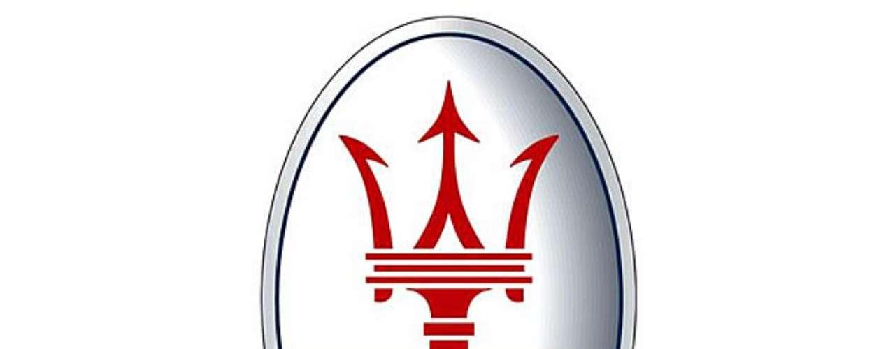 Maserati. El emblema de la firma usa el escudo de armas de Bolonia, en donde tuvo inicio la escudería, el cual se representa por medio del tridente de Neptuno, Dios de los mares.