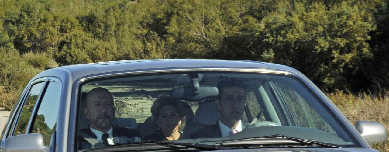 Carmen Bazán, madrina de la boda, a su llegada a la finca de Jerez donde ha tenido lugar la boda de su hijo Víctor con Beatriz Trapote.