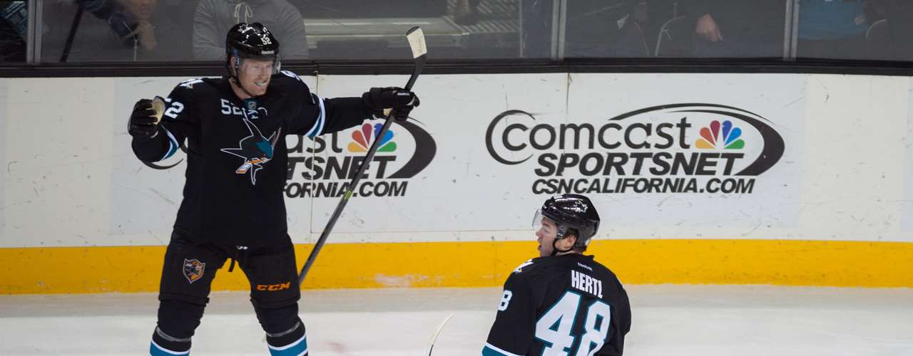 Dec 12, 2013; San Jose, CA, USA; San Jose Sharks center Tomas Hertl (48) and defenseman Matt Irwin (52) celebrate after scoring against the Minnesota Wild during the first period at SAP Center at San Jose. Mandatory Credit: Ed Szczepanski-USA TODAY Sports
