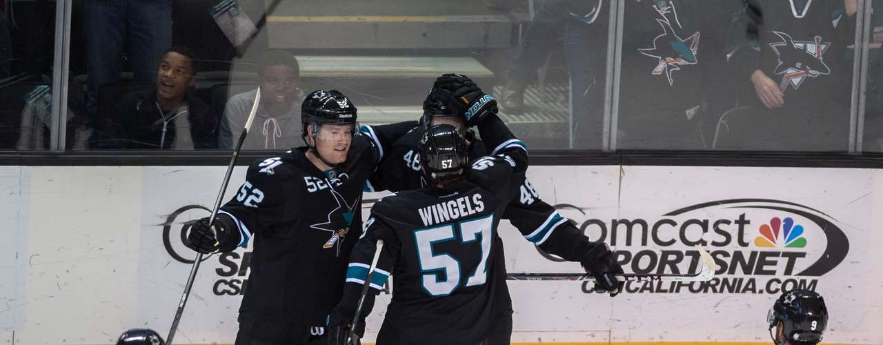 Dec 12, 2013; San Jose, CA, USA; San Jose Sharks defenseman Matt Irwin (52) and center Tommy Wingels (57) and center Tomas Hertl (48) celebrate after scoring against the Minnesota Wild during the first period at SAP Center at San Jose. Mandatory Credit: Ed Szczepanski-USA TODAY Sports