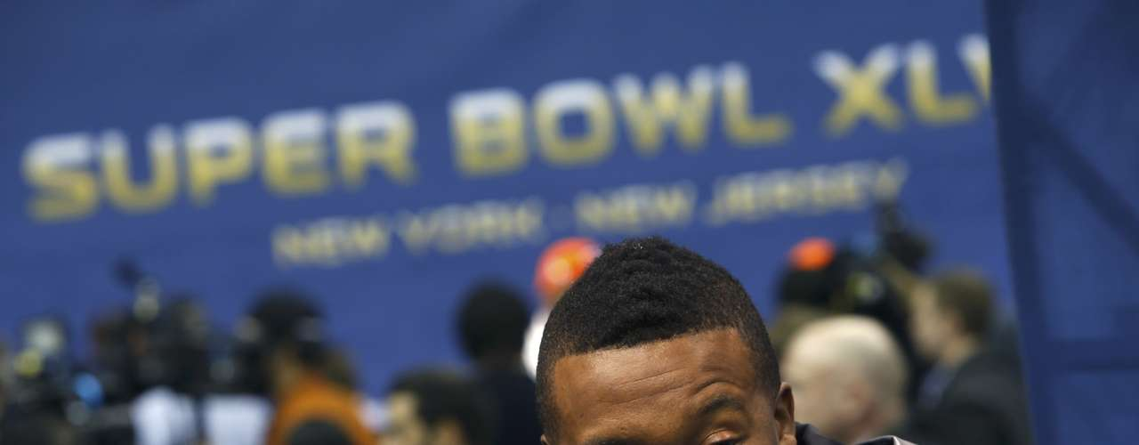 Denver Broncos wide receiver Demaryius Thomas answers a reporter's question during Media Day for Super Bowl XLVIII at the Prudential Center in Newark.