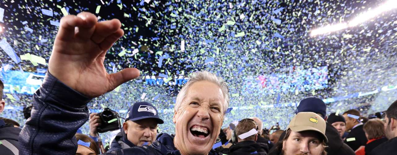 Pete Carroll celebrates after Super Bowl XLVIII against the Denver Broncos at MetLife Stadium. Seattle Seahawks won 43-8.