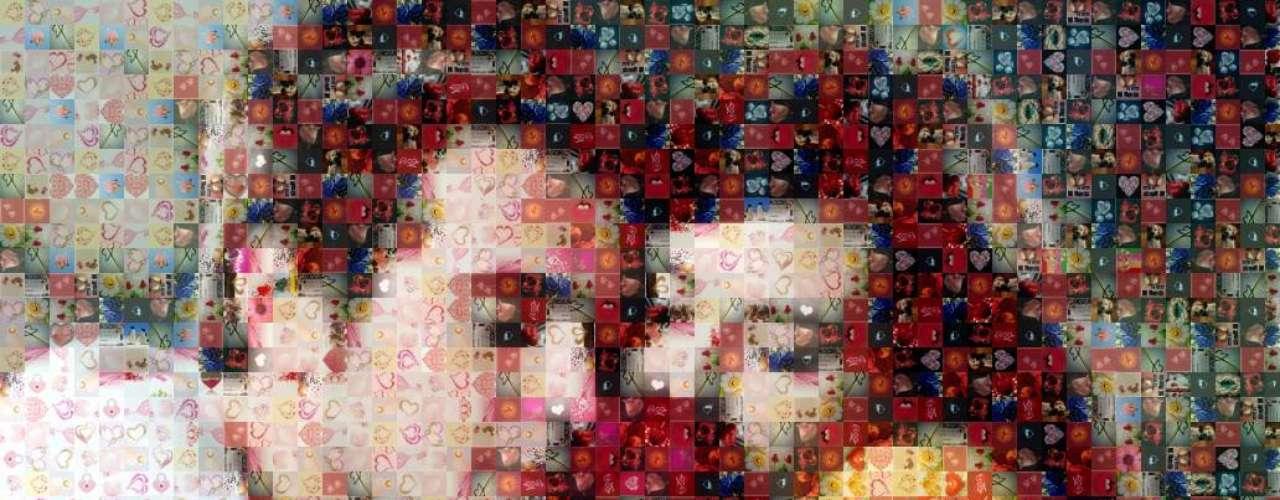 Fotografía mosaico. ¿Existe algo más cursi que esto? Unir las fotos más importantes de su relaciónen un mosaico que forme una gran imagen de los dosoliendo una rosa... mejor piensa en otra cosa.