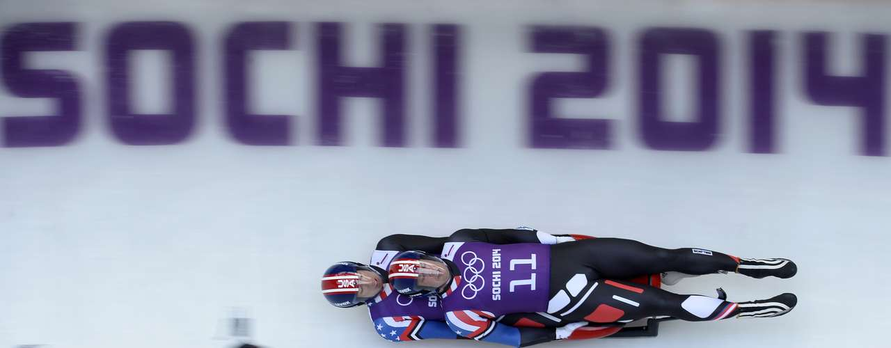 US Preston Griffall and Matthew Mortensen take part in the training run 4 of the luge doubles during the 2014 Sochi Winter Olympic.