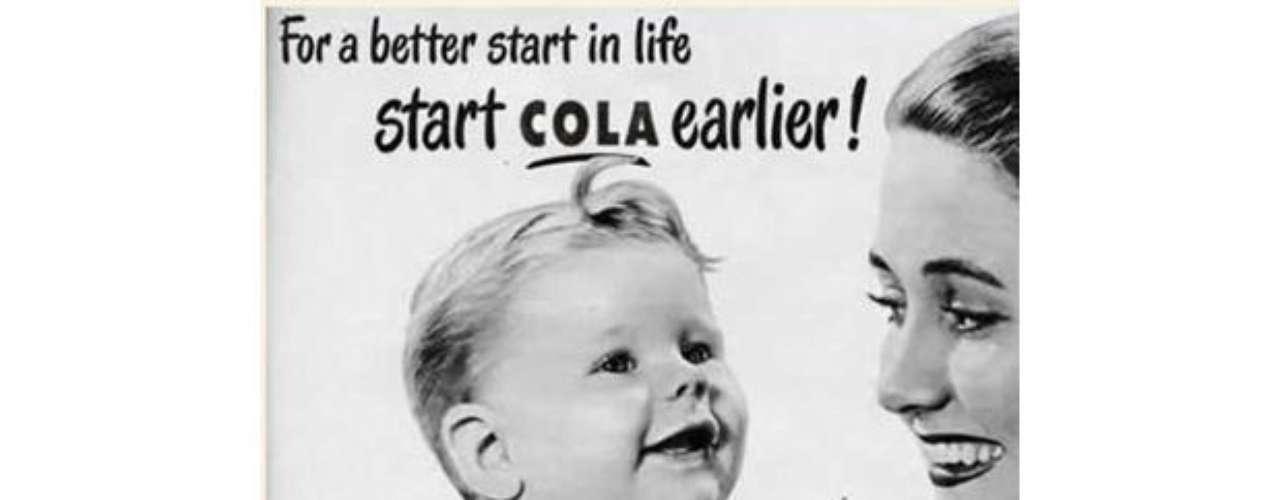 Anuncio que incita al pronto inicio del consumo de bebidas gaseosas usando el argumento que esto ayudará al niño a \