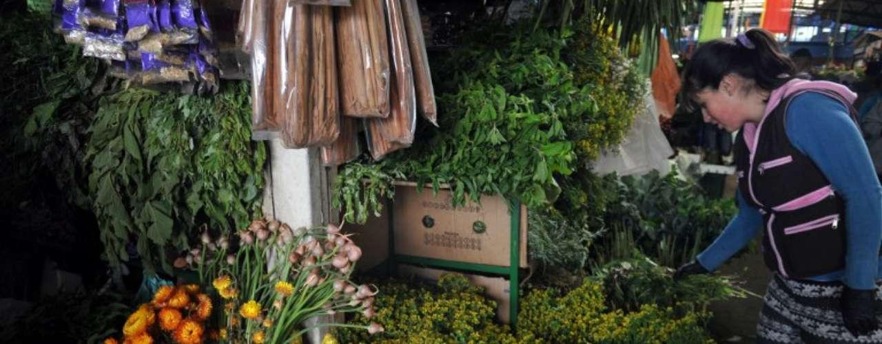 Baño Plantas Amargas:Una mujer hace manojos de hierbas amargas y dulces cerca de botellas
