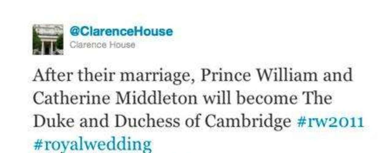 Hace apenas una hora Clarence House hacía público los títulos que recibirán Guillermo y Kate Middleton.