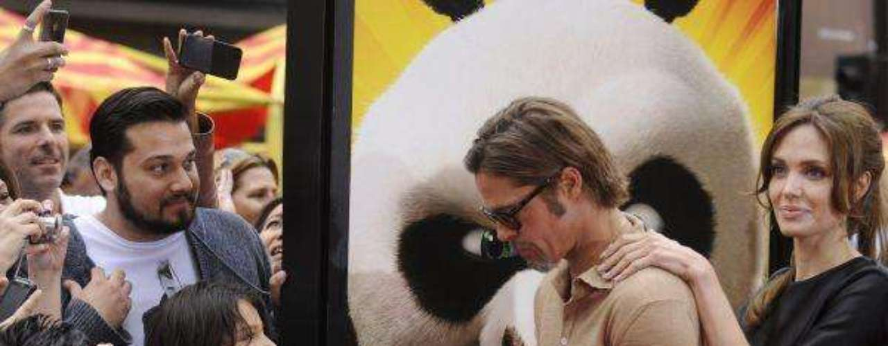 Angelina Jolie and Brad Pitt attend the premiere of the film \