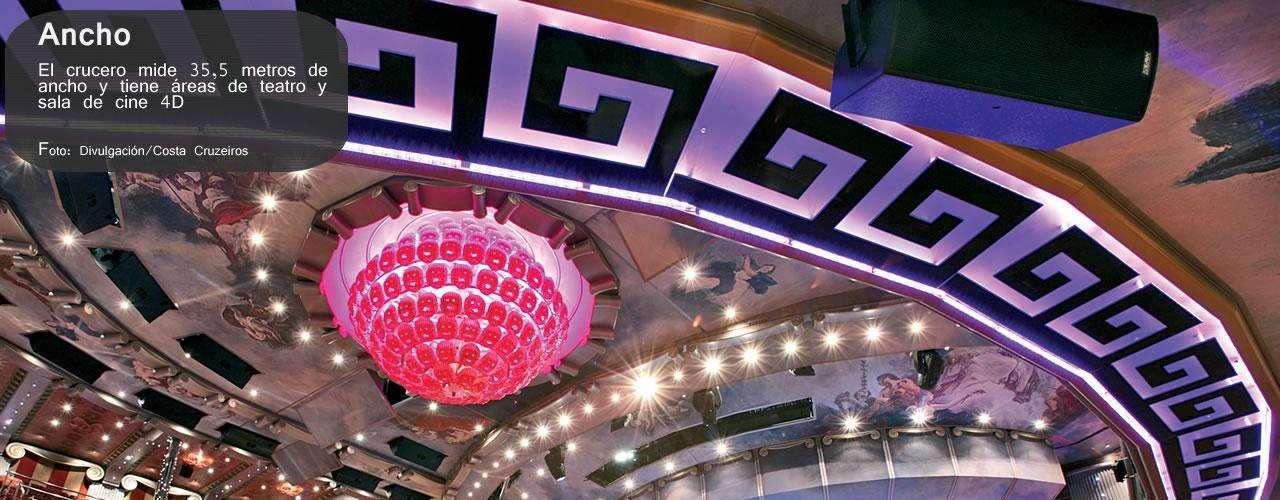 El crucero medía 35,5 metros de ancho y tenía salas de teatro y de cine 4D.