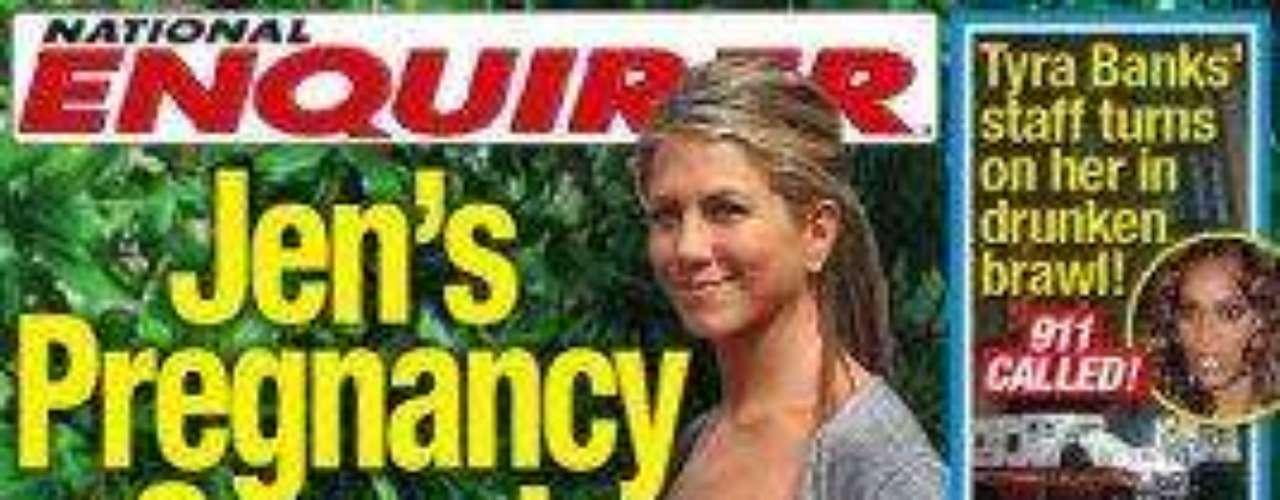The National Enquirer reportó el embarazo secreto de Aniston y hasta sugirió quiénes podrían ser del padre del supuesto bebé.