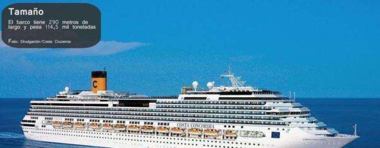El barco medía 290 metros de largo y pesaba más de 114.000 toneladas.