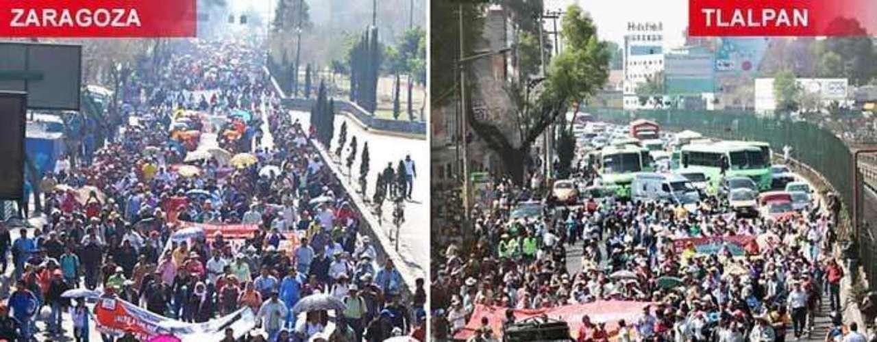 Se agruparon en tres contingentes, que partieron del Auditorio Nacional, la Avenida Ignacio Zaragoza y la Calzada de Tlalpan.