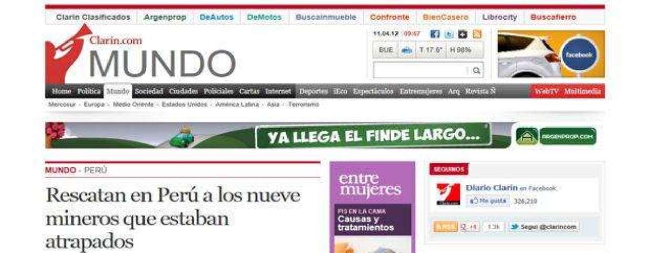 Clarín, de Argentina, destaca el operativo realizado por las autoridades peruanas para rescatar a los mineros