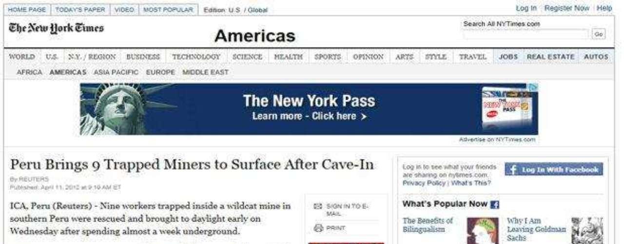 El New York Times también se sumó a los medios internacionales que informaron sobre el operativo realizado en Ica