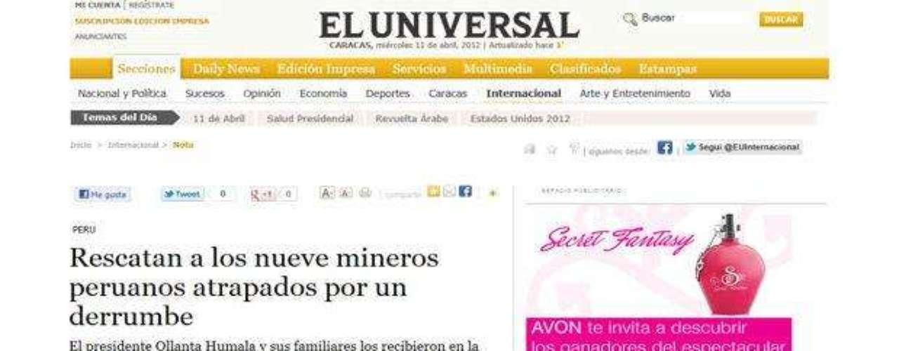 El Universal, de Venezuela, también informa sobre el exitoso rescate realizado esta mañana