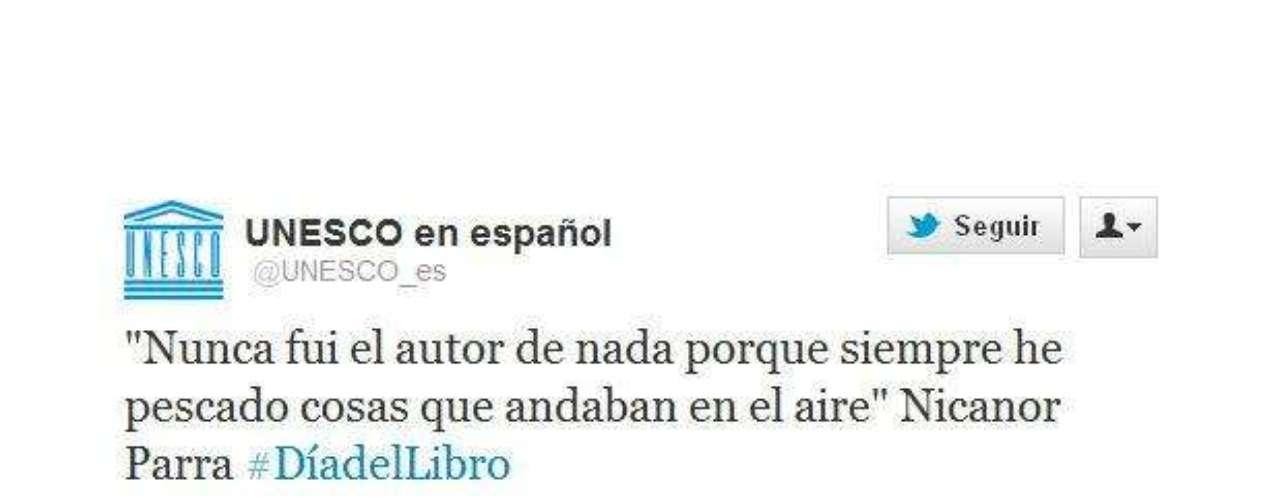 La Unesco cita al poeta chileno Nicanor Parra, quien recibió hoy el Premio Cervantes.