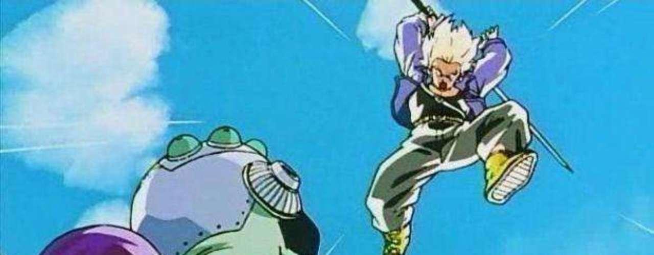 4. Llegada de Trunks y aniquilación de Freezer. Pasaron tres años y una nueva amenaza despertó. Tras la llegada de Trunks, un guerrero del futuro que vendría a ser el hijo de Vegeta y Bulma, este acabaría con los rezagos de las huestes de Freezer y su padre. Sin embargo, su viaje en el tiempo tenía otro cometido.