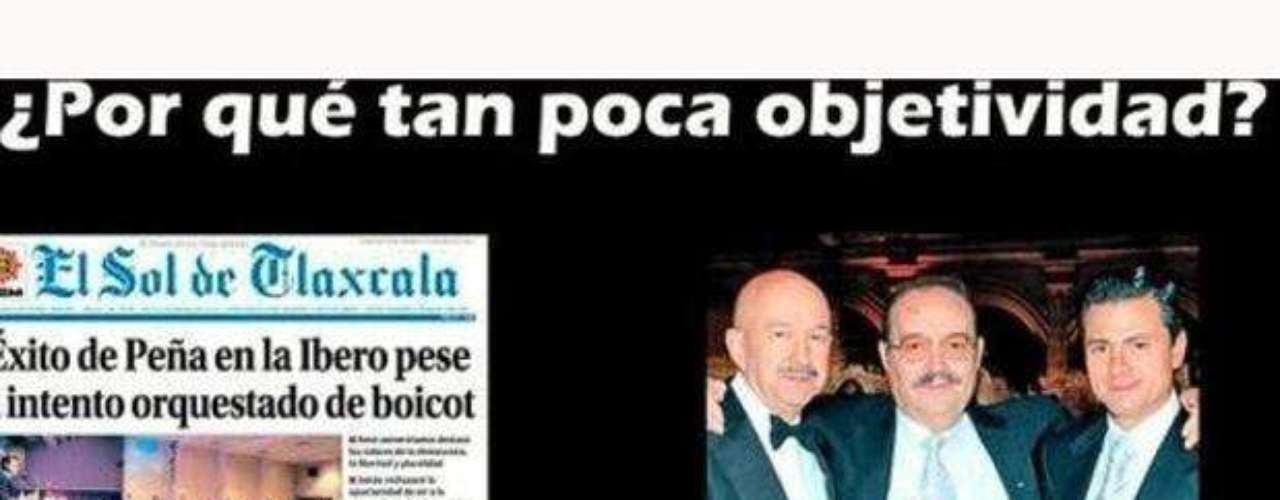 Algunos  usuarios como @Pacortizb escribió: ¿Saben por que los periódicos de Mario Vázquez Raña defienden a EPN ? Miren: ¡Son del mismo equipo