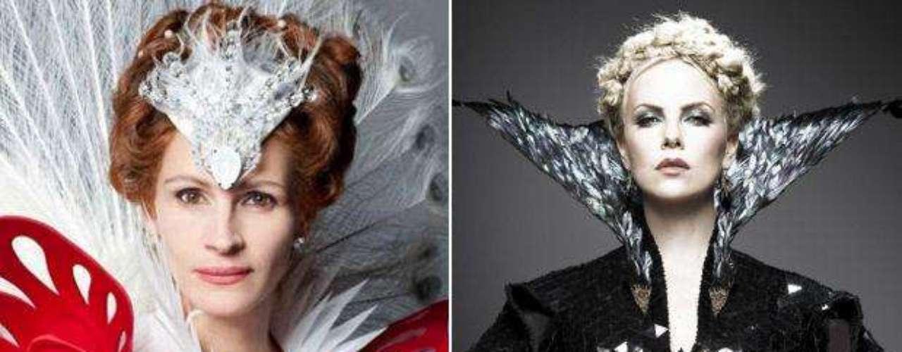 """Julia Roberts y Charlize Theron, las brujas malvadas de las nuevas versiones del clásico """"Blancanieves"""". La primera aparece en el film """"Mirror, Mirror"""" junto a Lily Collins. La segunda, ejerce sus malvados poderes contra la Blancanieves Kristen Stewart en la cinta """"Snow White and the Huntsman"""". ¿Cuál es tu favorita?"""