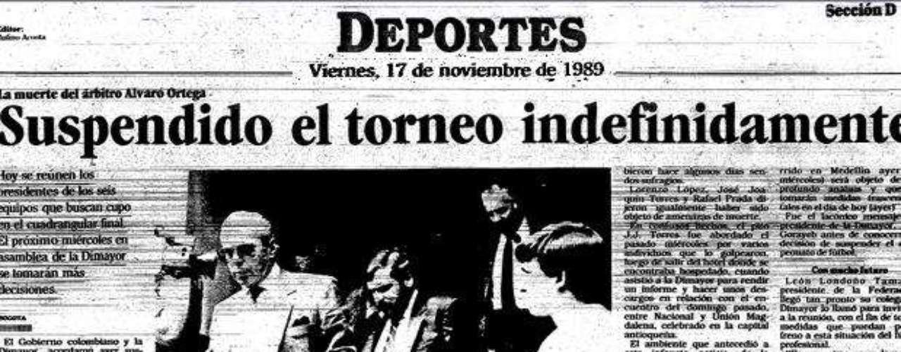 El viernes 17 de noviembre de 1989 se declara suspendido indefinidamente el torneo colombiano de fútbol tras un acuerdo entre los presidentes de los clubes en ese entonces pertenecientes a la Dimayor.