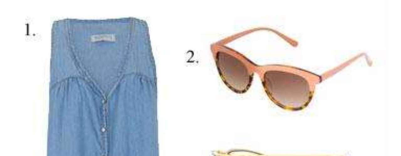 Denim colors 1. Vestido denim de Blanco (12,99 euros). 2. Gafas de sol de Zara (17,95 euros). 3. Bolso bandolera de Blanco (12,99 euros). Sandalias bicolor, también de Blanco (12,99 euros).