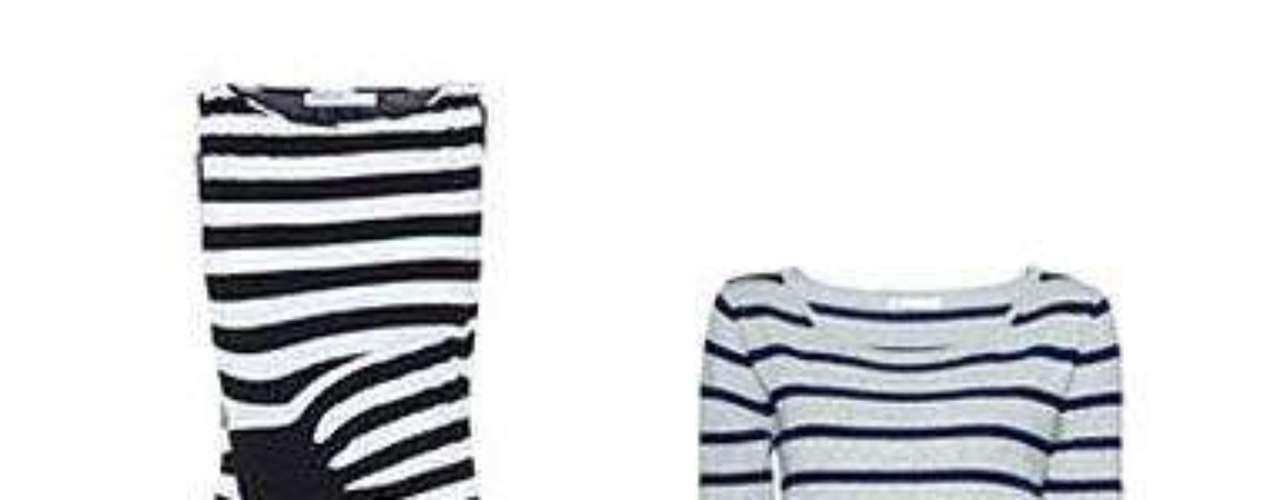 Código marinero El estilo navy se hace tendencia con vestidos ajustados al cuerpo. De corte drapeado en Blanco (29,99 euros). Ajustado y de rayas finas en Mango (19,99 euros).
