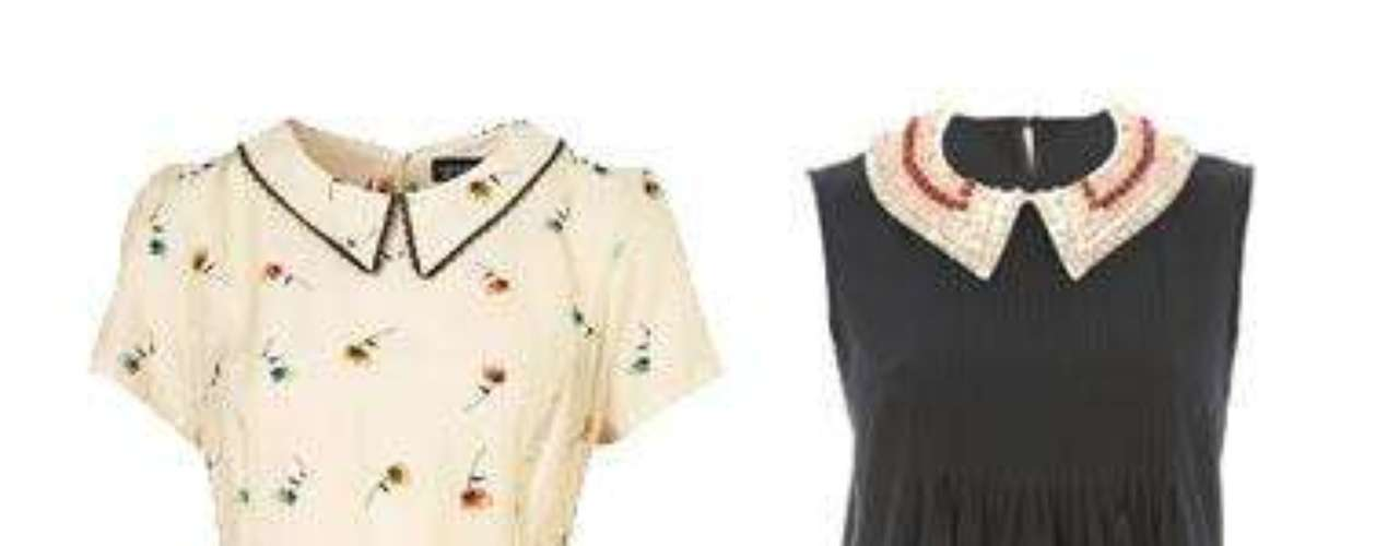 Cuello Peter Pan A la izquierda, vestido de Topshop (47 euros). A la derecha, de BDBA con aplicaciones en el cuello (c.p.v.).
