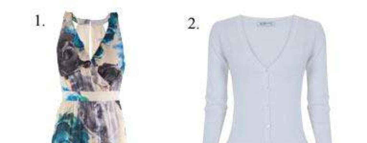 De terrazas 1. Vestido de satén con estampado de flores de H&M (39,95 euros). 2. Cardigan de Blanco (12,99 euros). 3. Anillo de H&M (4,95 euros). 4. Sandalias, también de H&M (12,95 euros).