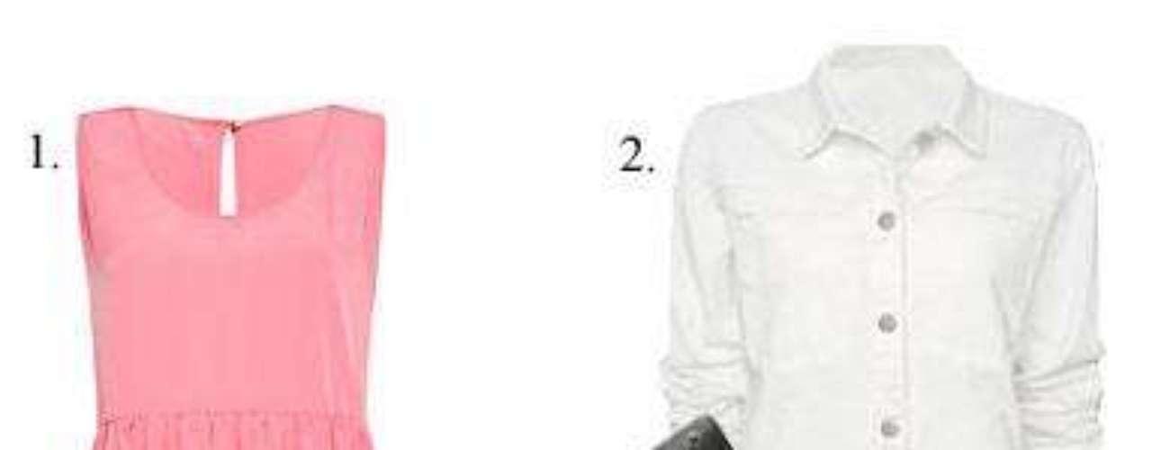 Tardes que amanecen Total look de Mango: 1. Vestido rosa (19,99 euros). 2. Cazadora denim blanca (39,99 euros). 3. Bolso tipo messenger (59,99 euros). 4. Sandalias con plataforma de piel (89,99 euros).