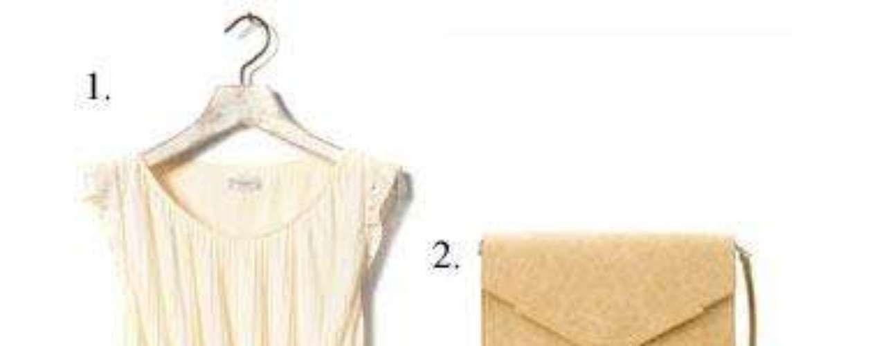 Escapada turística Aprovecha el buen tiempo. 1. Vestido plisado de Pull&Bear (25,99 euros). 2. Bolso tipo sobre de Zara (29,95 euros). 3. Cuñas de piel de Pull&Bear (29,99 euros).