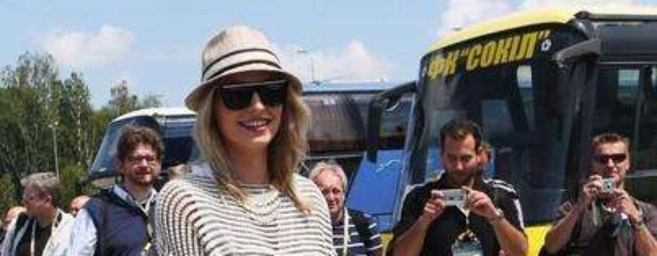 Lena Gercke, girlfriend of Sami Khedira is seen at the airport Lviv on June 9, 2012 in L'viv, Ukraine.