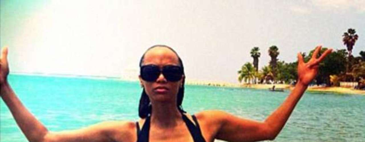 Tyra Banks put the 'super' into 'model' when she tweeted this beachtastic shot of herself on June 26, 2012.