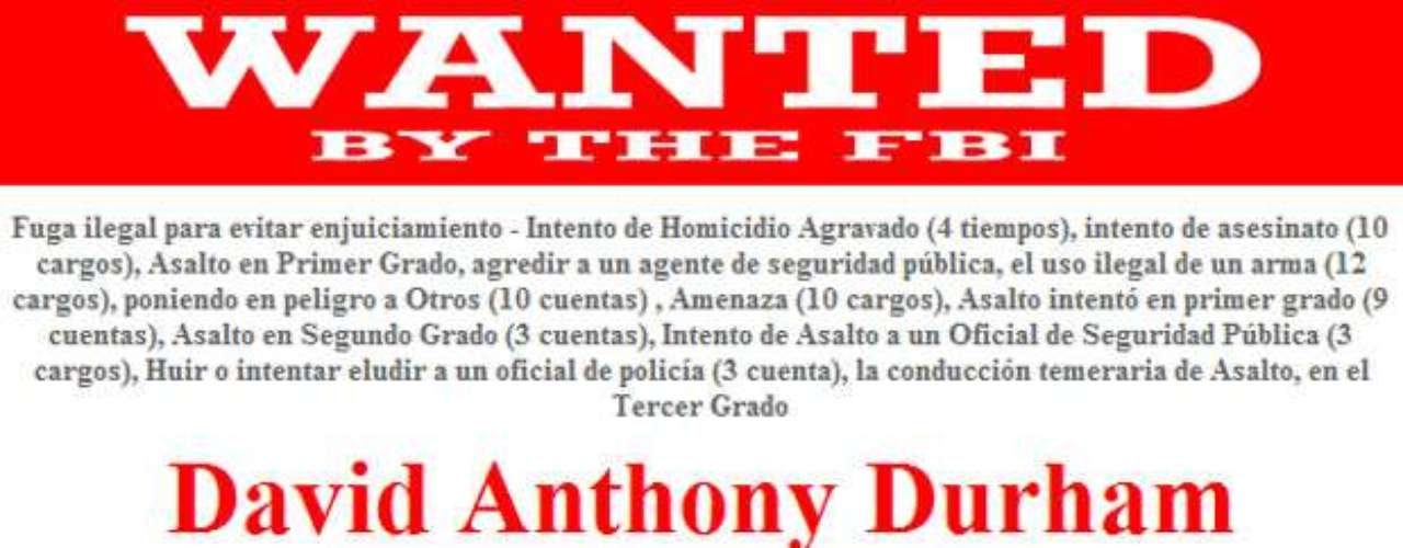 David Anthony Durham es buscado por las autoridades por su presunta implicación en el asesinato de un oficial de policía en el condado de Lincoln, Oregon, en enero del 2011. El FBI está ofreciendo una recompensa de hasta $10 mil dólares a quien ayude a dar con su localización.