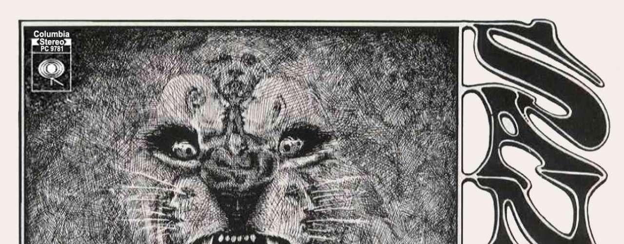 2.- Santana: Santana (1969). El arte de portada del álbum debut de la leyenda latina de la guitarra aparentaba ser un diseño estilizado de la cabeza de un león, sin embargo, mirando bien se podía divisar a un niño junto a cuatro cabezas humanas. De hecho que el mexicano supo emplear este mensaje perturbador para presentar su música a todo el mundo.
