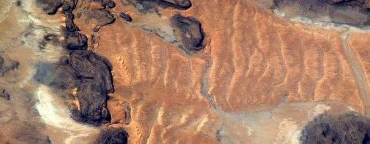 A menos de un mes de volver a la Tierra, Kuipers captó una vista de Mauritania, en Africa.