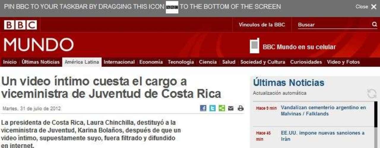 BBC Mundo atribuye la destitución de la funcionaria gracias al video íntimo, el cual fue filtrado y difundido en internet.
