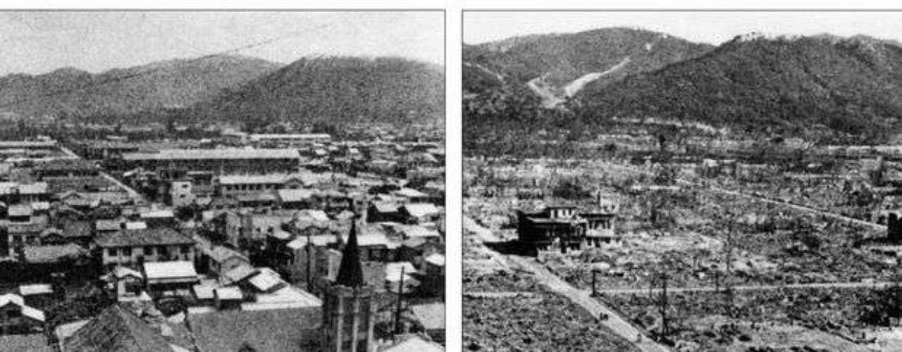La foto muestra el antes y el después de la explosión que devastó la ciudad de Hiroshima.