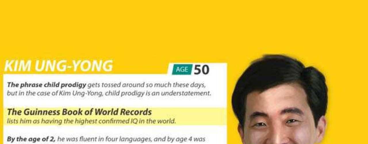 Kim Ung-Yong tiene 50 años, pero a los 2 ya hablaba cuatro idiomas. A los cuatro iba a la universidad y la NASA contrató a este coreano cuando tenía sólo ocho años. Tiene 210 de IQ y, por ahora, su inteligencia es récord Guinness.