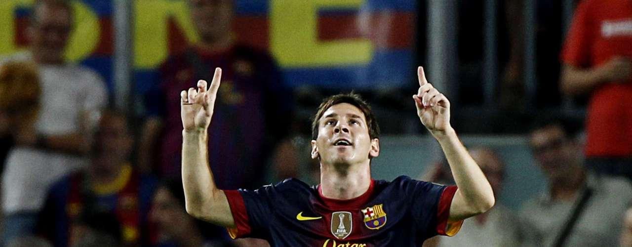 Lionel Messi celebrates his second goal.