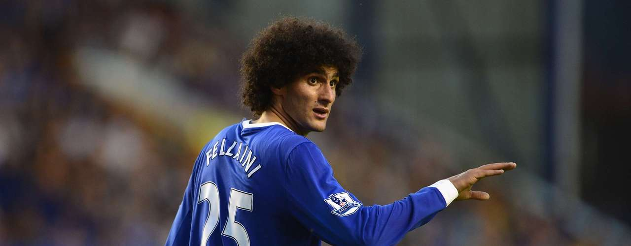 Marouane Fellaini of Everton gestures during the Barclays Premier League match between Everton and Manchester United at Goodison Park on August 20, 2012 in Liverpool, England.