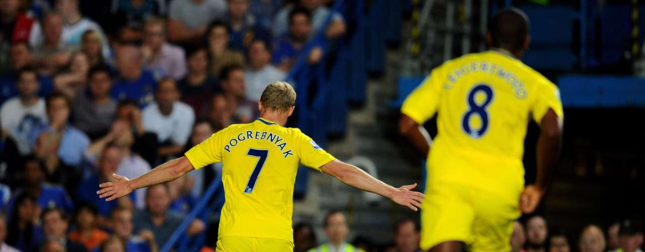 Pavel Pogrebnyak of Reading celebrates scoring their first goal with a nice header