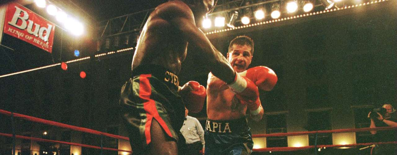 Tapia throws a right at opponent Sammy Stewart during their bout at Texas Station in Las Vegas, Nevada. Tapia won the fight with a TKO in the 7th round.