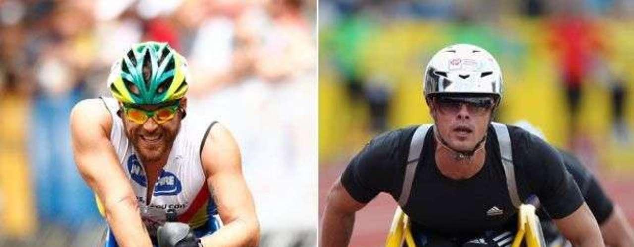 El australiano Kurt Fearnley (izq) y el suizo Marcel Hug (der) están entre los principales favoritos a brillar en los 1.500 m en silla de ruedas.