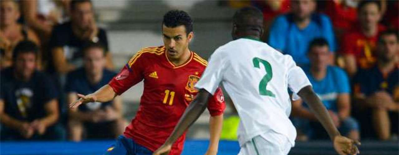 Pedro scored a goal in each half to extend the Spanish lead.