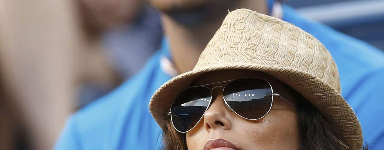 Actress Eva Longoria watches from the gallery at the U.S. Open tennis tournamen.