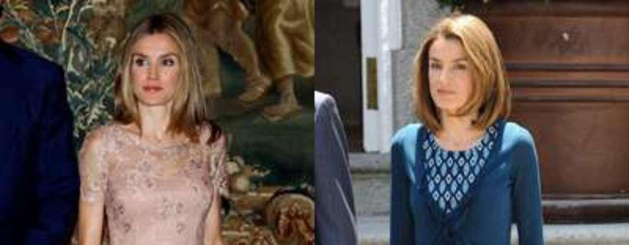 La foto de la izquierda es reciente. Aquí vemos a doña Letizia con un vestido de cóctel en tonos nude, el que se ha convertido en su color fetiche. Con semitransparencias, la Princesa no se esconde y luce piernas sin miedo. A la derecha, vemos otra imagen de sus primeros años como esposa del Príncipe. El azul era entonces su color más habitual y eran pocas las ocasiones en las que optaba por faldas o vestidos.