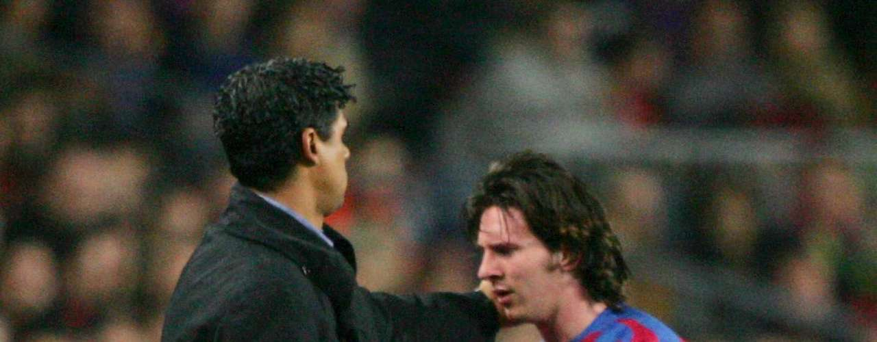 Lionel Messi had his non-official debut with the first team on November 16, 2003 (at 16 years old, 145 days) in a friendly against Porto. Less than a year later he made his official debut against RCD ESpanyol on October 16, 2004 (17 years, 113 days), becoming the third youngest to play with Barcelona.