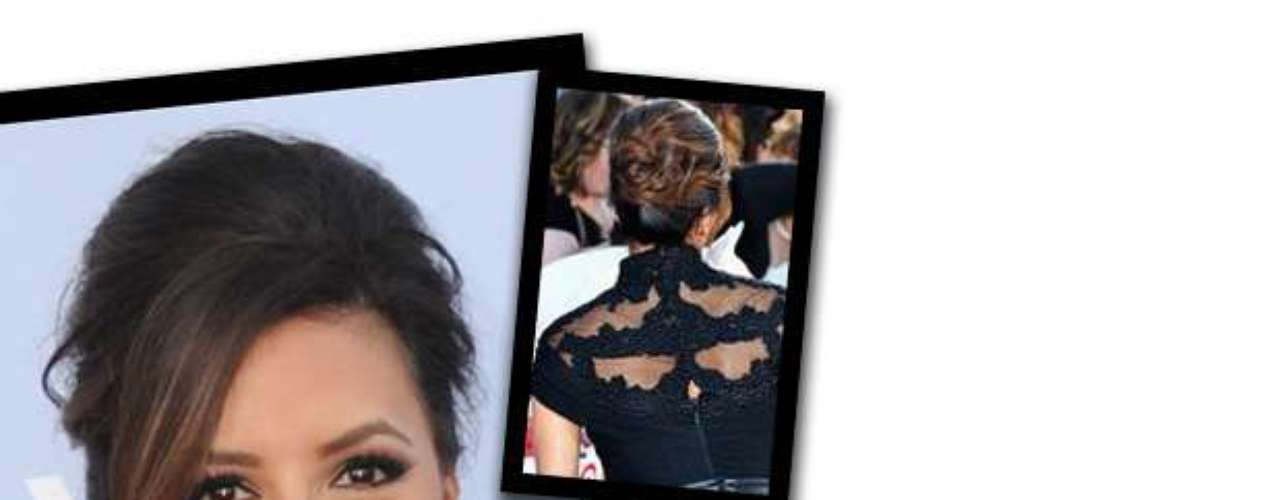 STEP 5: Take the bottom half of the hair and create a messy bun. Take the top half of hair and join it with the bottom half securing with bobby pins (front, back and side to side) to create a complete bun.