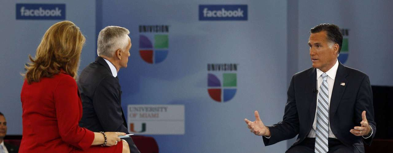 U.S. Republican presidential nominee and former Massachusetts Governor Mitt Romney (R) attends the Univision and Facebook's \