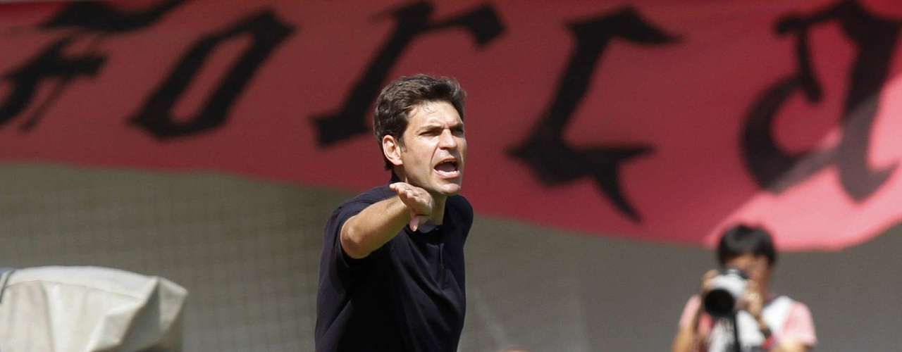Valencia's coach Mauricio Pellegrino reacts during their Spanish First division soccer match against Mallorca at Iberostar stadium in Palma de Mallorca, September 23, 2012.